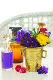Aromatherapy - flowers in mortar Stock Photo