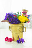 Aromatherapy - flowers in mortar Royalty Free Stock Photo