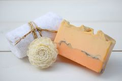 Handmade Soap closeup.Spa products royalty free stock photography