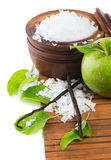 Aromatherapy - green apple, bath salt and vanilla beans Royalty Free Stock Image