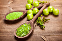 Aromatherapy - green bath salt Royalty Free Stock Photography