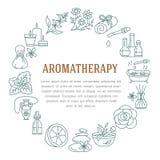 Aromatherapy i istotnych olejów okręgu szablon Wektorowa kreskowa ilustracja aromatherapy dyfuzor, nafciany palnik, zdrój świeczk Ilustracji