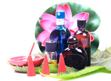 Aromatherapy items. Perfumes, scent bottles, aromatic sticks and mud cones isolated on white background Stock Photo