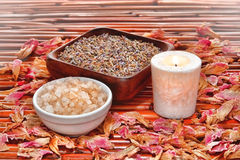 aromatherapy kąpielowa lawenda soli zdrój fotografia royalty free