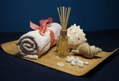 Aromatherapy in kuuroord met roze handdoek en shell Royalty-vrije Stock Afbeeldingen