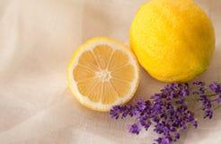 Aromatherapy lavendel en citroen royalty-vrije stock foto's