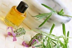 aromatherapy lavendeloljor Fotografering för Bildbyråer