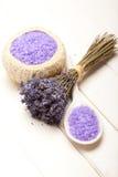 Aromatherapy - lavender bath salt Royalty Free Stock Photo