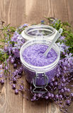Aromatherapy - lavender bath salt Stock Photos