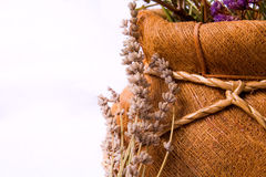 Aromatherapy: lavender flowers and basket Royalty Free Stock Images