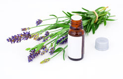Aromatherapy Lavender oil and lavender flower. On white background Royalty Free Stock Photography