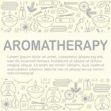 Aromatherapy Le fond avec des icônes pour l'aromatherapy et la relaxation avec l'endroit pour vous textotent Configuration pour l Images libres de droits