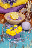 Aromatherapy with lemon and herbs Stock Photo
