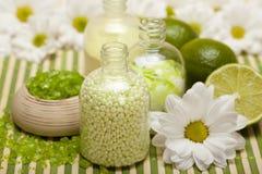 Aromatherapy - lime bath salt Royalty Free Stock Photos