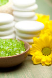 Aromatherapy - lime bath salt and flowers Stock Photo