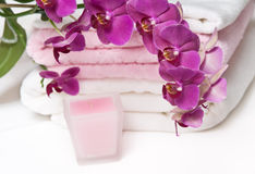 aromatherapy livstidsorchid fortfarande arkivfoto