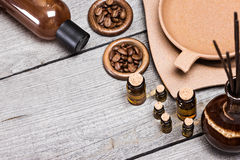 Aromatherapy and massage cosmetics and accessories Stock Images