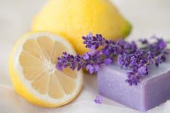 Aromatherapy mit Zitrone und Lavendel stockfotografie