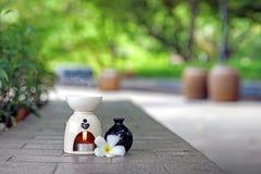 Aromatherapy nafciany palnik z frangipani aromather i kwiatem Zdjęcie Stock