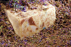 Aromatherapy Natural Soap and Lavender Seeds Stock Images