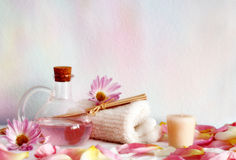 Aromatherapy objects. Selection of rose-scented aromatherapy objects in pink. Hi-key and soft focus to enhance the serene feel Royalty Free Stock Photos