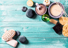 Aromatherapy objects as background concept Stock Photography