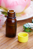 Aromatherapy oil. Tradicional alternative theraphy or medicine,  concept of healthy lifestyle, aromatherapy. Bottle of aromatic oil with flowers in a background Royalty Free Stock Image