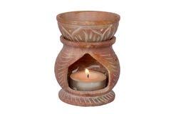 Aromatherapy oil burner on white background Stock Photo