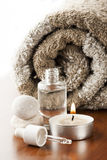 Aromatherapy oil and candle Royalty Free Stock Photos