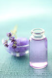 Aromatherapy oil and lavender. With bath salt Royalty Free Stock Photography