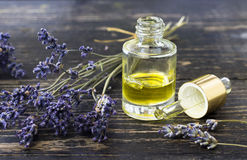 Aromatherapy oil and lavender Stock Photos