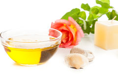 Aromatherapy oil and rose Royalty Free Stock Photography