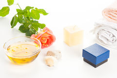 Aromatherapy oil and rose Stock Photography