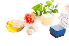 Aromatherapy oil and rose Royalty Free Stock Photo