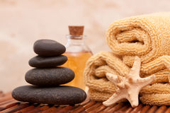Aromatherapy oil and spa items Royalty Free Stock Photo