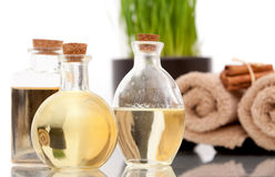 Aromatherapy oils and bath towels Royalty Free Stock Image