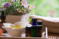 Aromatherapy oils for beauty treatment royalty free stock images