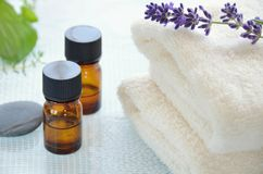 Aromatherapy oils with lavender. Essential oils for aromatherapy with lavender Stock Images
