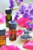 Aromatherapy oils with roses. Essential oils for aromatherapy with roses Royalty Free Stock Image