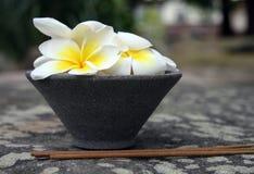 Aromatherapy plakt en grijze pot met bloemen Stock Fotografie