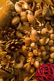 Aromatherapy potpourri dried plants and flowers nuts Royalty Free Stock Photos