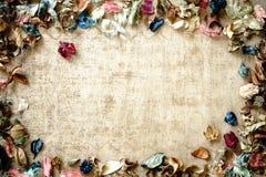 Aromatherapy potpourri mix of dried aromatic flowers on wooden b. Aromatherapy potpourri mix of dried  aromatic flowers on wooden background with copy space Stock Photo