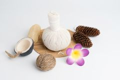Aromatherapy  product  Spa set ,candle ,soap,coconut,flower,shel. L,  massage  with  white color   background Stock Photo