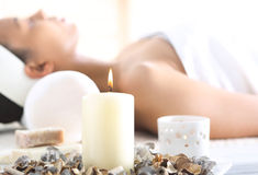 Aromatherapy, relaxation in the wellness clinic Stock Photos