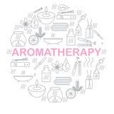 aromatherapy Runde Fahne mit Ikonenaromatherapie Ikonen für Entspannung und Badekurort Stockfoto