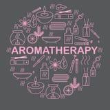aromatherapy Runde Fahne mit Ikonenaromatherapie Ikonen für Entspannung und Badekurort Lizenzfreies Stockfoto