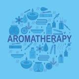 aromatherapy Runde Fahne mit Ikonenaromatherapie Ikonen für Entspannung und Badekurort Stockbilder