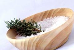 Aromatherapy - sal de baño y romero Foto de archivo libre de regalías