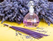 Aromatherapy sano natural y fragancia casera, lavanda púrpura fotos de archivo