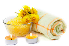 Aromatherapy set. With flower dandelions and flasks Stock Photography